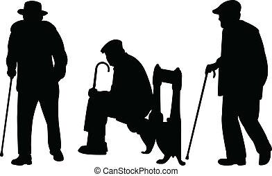 Alte Männer mit Stock