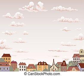Alte Retrostadt mit Himmel und Wolken. Vector Illustration