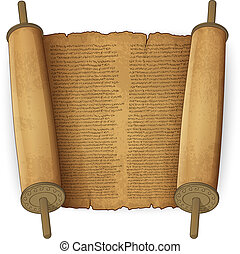 Alte Schriftrollen mit Text