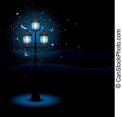 Alte Straßenlampe in der Nacht