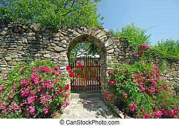 Alte Wand mit Blumen