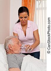 altenhei, antikisiert, krankenschwester, altenpflege
