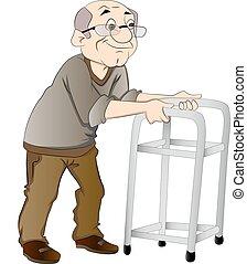 Alter Mann mit einem Walker, Illustration
