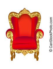 Alter Stuhl rot mit Gold