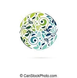 Alternative, chinesische Medizin und Wellness, Kräuter-, Zen-Meditationskonzept - Vektor Yin Yang Ikone, Logo.