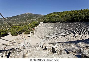 Altes Amphitheater von Epidaurus in Peloponisos, Griece