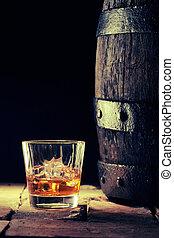 altes , eiche, schaukelt glas, fass, schottisch