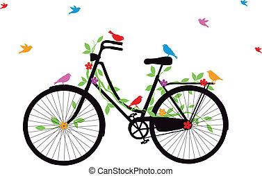 Altes Fahrrad mit Vögeln, Vektor.