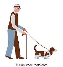 altes , farben, pensionäre, brauner, basset, älter, gehen, senioren, weißes, dog., freigestellt, leash., mann- abbildung, blaues, cane., hut, vektor, activity.