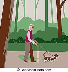 altes , karikatur, draußen, wohnung, basset, wald, älter, senioren, aktivität, hund, bürger, mann, pensioner., abbildung, spaziergänge, sorgen, park, draußen, style., vektor