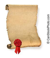 Altes Pergament mit rotem Wachssiegel