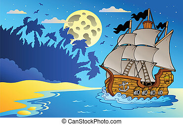 Altes Schiff in der Nacht beim Strand