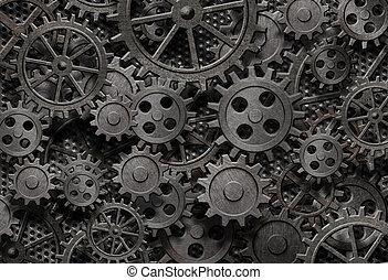 altes , viele, metall, maschine, rostiges , zubehörteil, zahnräder, oder