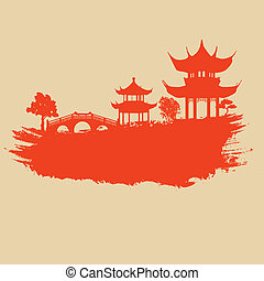 Altpapier mit asiatischer Landschaft