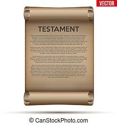 Altpapier mit Testament und Testament