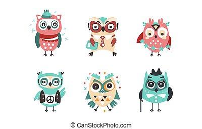 amüsant, karikatur, abbildung, owlets, vögel, vektor, reizend, bunte, satz, eule