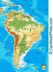 america-physical, landkarte, süden