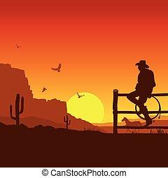 American Cowboy auf wilder West-Sunset-Landschaft am Abend