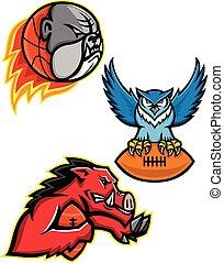 American Football und Basketball Wildlife Sports Maskottchen Sammlung.