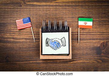 amerika, diplomatisch, vereint, begriff, iran, lösungen, staaten, zwischen