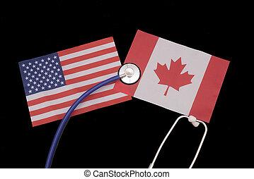 amerika, kanada, vereint, unterschied, staaten, sorgfalt, gesundheit