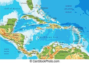 amerika, physisch, landkarte, inseln, karibisch, zentral