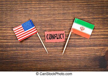 amerika, vereint, iran, staaten, zwischen, konflikt