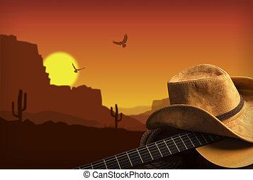 Amerikanische Countrymusik mit Gitarre und Cowboyhut