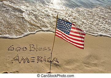 Amerikanische Flagge an der Küste.