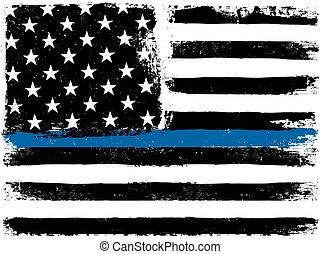 Amerikanische Flagge mit dünner blauer Linie. Grunge im Alter. Monochrom. Schwarz und weiß.