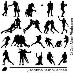 amerikanische , fußball, silhouetten