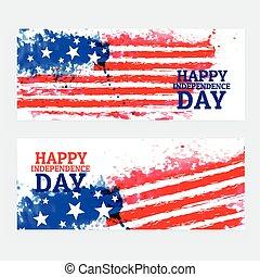 Amerikanische Unabhängigkeitstagsbanner mit Wasserfarbenflagge.