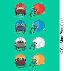 Amerikanischer Footballhelmset. Schutzausrüstung