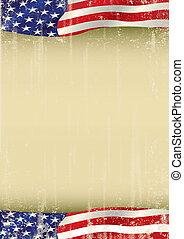 Amerikanisches Poster, das mit der Grunge-Flagge winkt.