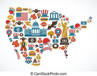 Amerikas Karte mit vielen Vektoren