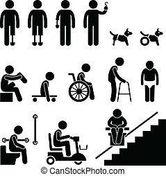 Amputeee-Handicap deaktiviert Menschen Mann.