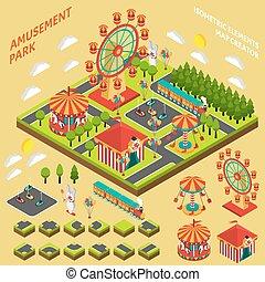 Amusement Park isometrische Karte Schöpfer Komposition.