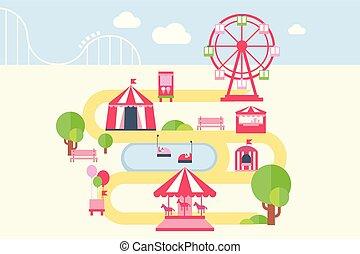 Amusement Park Karte infographische Elemente, Attraktionen und Karussell Vektorgrafik im flachen Stil.