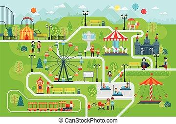 Amusement Park Karte infographische Elemente in flachem Vektor-Design.