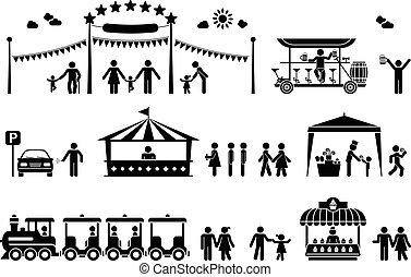 Amusement Park Piktogramm Ikonen.