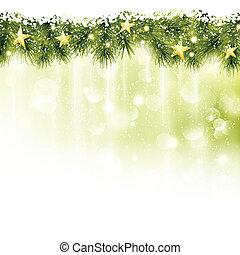 An der Grenze von Fir Zweigen mit goldenen Sternen im weichen, grünen Hintergrund