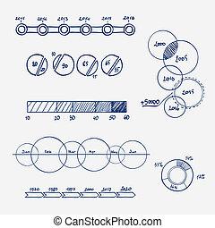 Analytics Business Finance Statistik infographics doodle hand gezeichnete Elemente. Konzept - Diagramm, Diagramm
