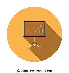 analytics, stehen, ikone