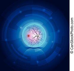 Anatomy des eye fundus, schöne blaue abstrakte Technologie Hintergrund.