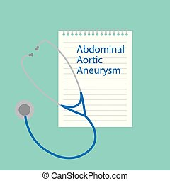 aneurysma, geschrieben, notizbuch, aortal, abdominal