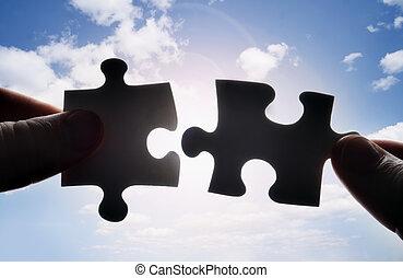 anfall, puzzel, zwei, zusammen, stücke, hände, schwierig