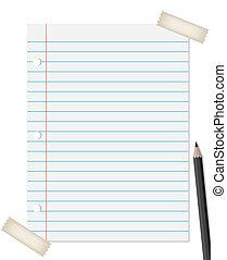 Angebundenes Papier mit Bleistift