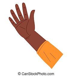 angehoben, offene hand