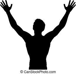 angehoben, silhouette, arme, mann