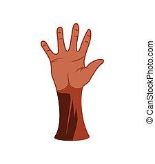 angehobene hand, schwarz, rgeöffnete
